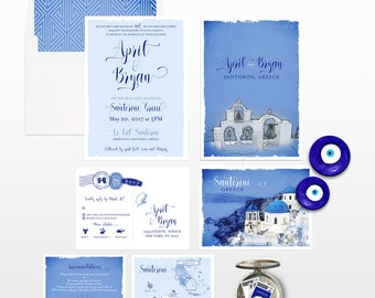Destination wedding invitation Santorini Greece  - Greek Island Invitation Suite - European wedding - Deposit Payment