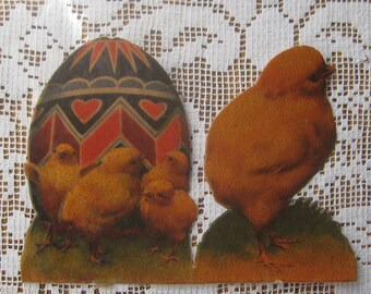 Vintage 1930s Czechoslovakia Easter Scraps Chicks And Egg