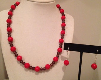 Red hat ladies society set of necklace and sterling earrings