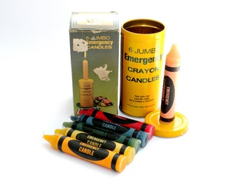 6 Vintage Jumbo Crayon Emergency Candles In Tin Made in Hong Kong - Candle Set, Photo Prop, Scenic Design, Collectible Candle, Novelty