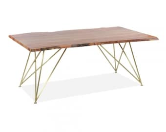 Live Edge Dining Table With Geometric Style Steel Legs Hairpin leg Kitchen Table Available With Gold or Copper Table Legs  180CM
