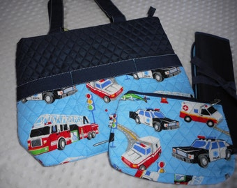 PERSONALIZED 3 Piece Diaper Bag Set with Name - Baby Boy Blue Firetrucks, Polic Car, Ambulance Personalized Diaper Bag Set Emergency Vehicle