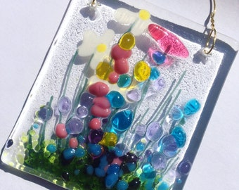 Handcrafted Fused Glass Art - Wildflower Small Token