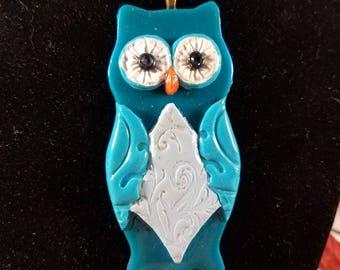 Blue and gray filigree owl pendant