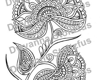 Henna Style Flower 2 Coloring Page JPG