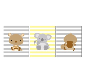 Australian animals nursery wall art, PRINTABLE FILE,  neutral gender wall art, kangaroo, koala, platypus, brown, yellow and grey