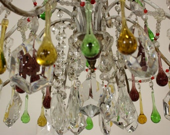 Statement Antique Murano drops chandelier, Italian color drops chandelier, 8 lights Italian antique lighting one-of-a-kind