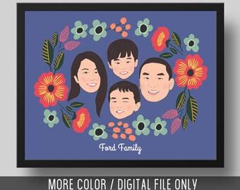 Custom Family Portrait, Custom Couple Portrait, DIGITAL FILE, Illustrated Portrait, Wall Art, Personalised Gift