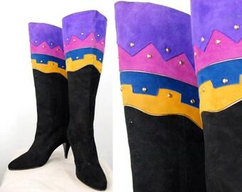 Vintage Southwest Glamour Suede Boots sz 7