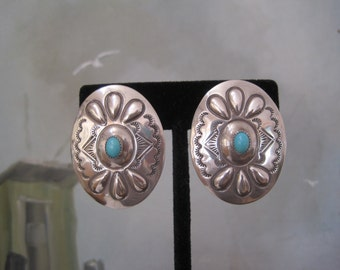 Wilbur Tracy Sterling Silver and Sleeping Beauty Turquoise Large Concha  Earrings Stamped Repousse Signed Navajo Native American