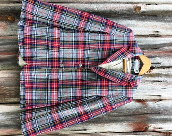 Vintage Ladies Wool Plaid Blazer Goes with Everyting