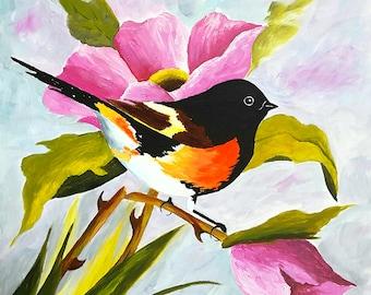 """Redstart Bird, 8x8"""", Acrylic Painting Original, Birds, Bird Art Wall decor Art Lovers Gifts"""