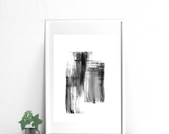 Black and white print abstract painting, digital print art black ink, abstract art print, printable download, 11x14 print, 5x7, 24x36 print