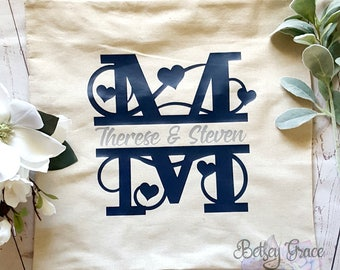 Monogram personalized wedding 18x18 pillow cover
