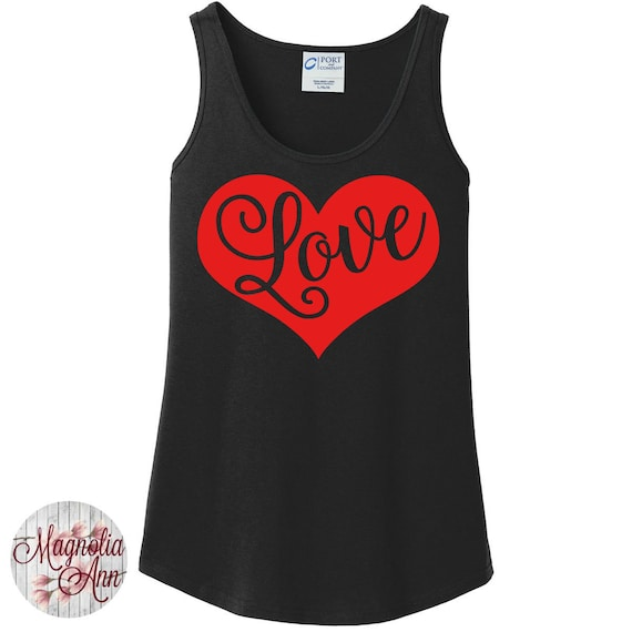Love Heart, Valentines Day, Women's Tank Top in 6 colors in Sizes Small-4X, Plus Size