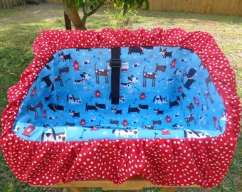 """Pet Shopping Cart Cover""""Doggies on Blue """" Ready to Ship"""