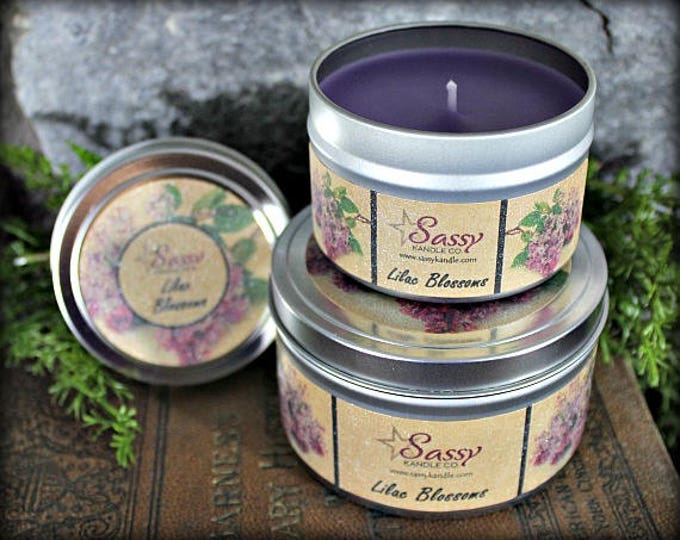LILAC BLOSSOMS   Candle Tin (4 or 8 oz)   Sassy Kandle Co.