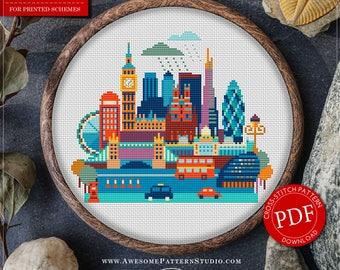 London Cross Stitch Pattern for Instant Download *P135 | Easy Cross Stitch| Counted Cross Stitch|Embroidery Design| City Cross Stitch