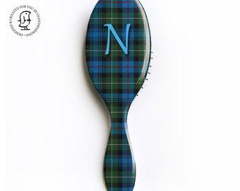 Personalised Letter Hair Brush- Tartan - Kilt - Scotland - MacKenzie Clan, Tartan Fabric Design, Gift for Her.