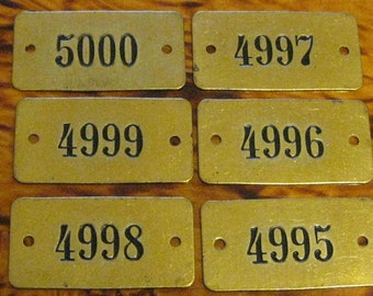 6 Vintage Brass Locker Tags You Get All 6 Tags #1