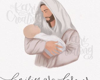 Infant with Christ | Digital Watercolor Painting | Infant loss Gift | Sympathy Gift | Miscarriage | Loss of Loved One | Christ Holding Baby