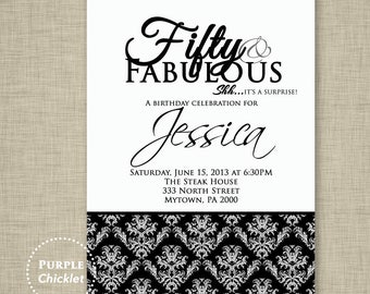 50th Birthday Surprise Invitation formal adult Party Invite 50 and Fabulous Black White Damask Party Invite Printable JPG File Invite (45-2)
