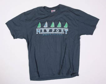 90s Vintage Newport Rhode Island Puffy Print T-Shirt Size L