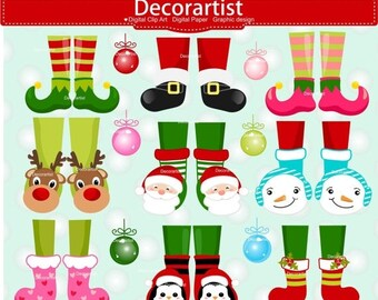 ON SALE Christmas clip art, Christmas feet clip art, Christmas legs clip art, Digital clipart, Christmas elves clip art, instant download