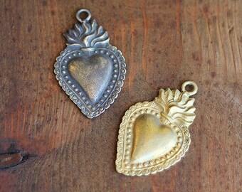 Large Ex Voto Heart in Aged Brass