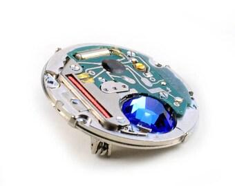 Steampunk Sapphire Crystal Vintage Watch Movement Pin