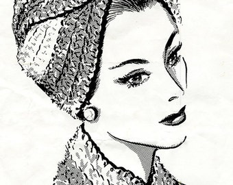 Crochet Turban Hat Pattern, vintage inspired crochet pattern.