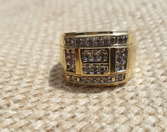 Men's Yellow Gold and Diamond Ring