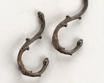 Bronze Antique Wall or Coat Hook French Country Set of 2