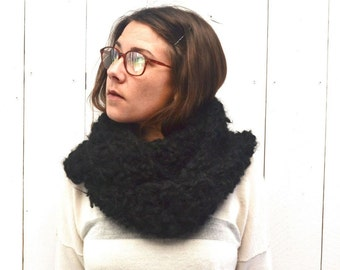Wool Infinity Scarf Black Circle Cowl Scarf Chunky Mohair Blend Crochet Mens Womens Scarf Limited Edition