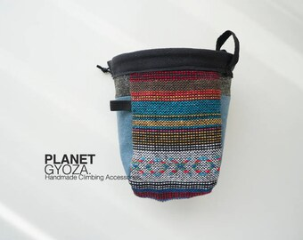 Chalk Bag - patchwork / rainbow striped fabric and peacock blue canvas fabric / gift for her