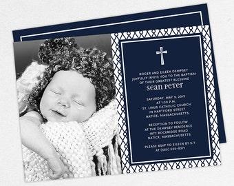 Photo Baptism Invitation, Christening Invitation, Boy Baptism Invitation, Printable Baptism Invitation, Invitation PDF, Modern, Navy, Sean