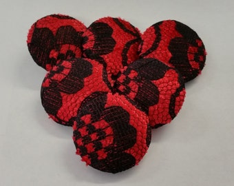 Large Buttons, Red & Black Buttons, with Lace Overlay, Coat Buttons, 31mm, Shank Buttons, Fabric Buttons, Covered Buttons, Coat Buttons