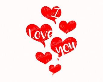 I Love You Svg, Valentines Day Svg Love Svg Heart Svg With Words Ballons Svg Cut File Vinyl Cutting Files T shirt Design Svg Dxf Eps Pdf Png