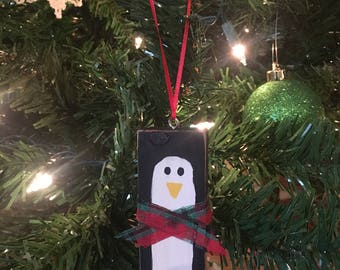 Rustic Handpainted Penguin Christmas Ornaments-Scrap Wood Handpainted Penguin Ornament