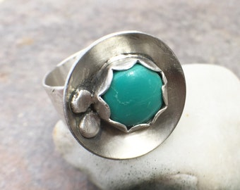 Turquoise Sterling Silver Handstamped Wide Band Ring - US Size 7.5