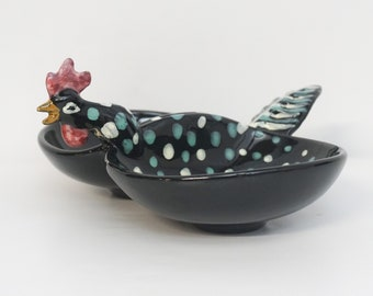 Mid Century Kitsch Rooster Bowl Pottery Ceramic