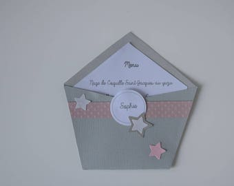 Menu and place brand gray and dusty pink - baptism, birthday, communion