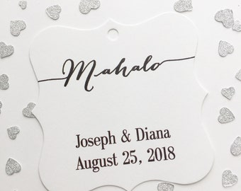 Mahalo Favor Tags, Hawaiian Wedding Favor Tags, Thank You Destination Wedding Hang Tags  (FS-065)