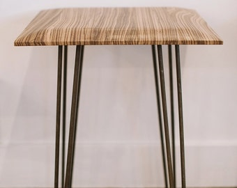 Exotic Zebra Wood End Side Table with Hairpin Legs