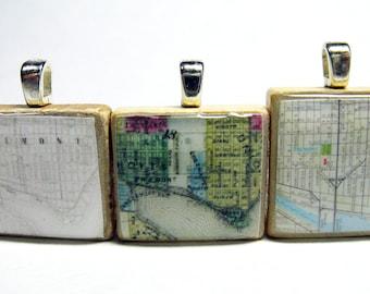 Fremont, Seattle - your choice of 3 vintage Scrabble tile map pendants
