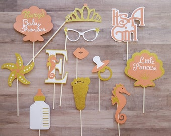 Seahorse and Shells Baby Shower Photo Booth Props
