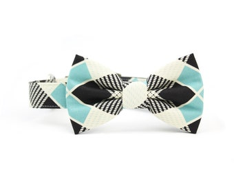 Blue Plaid Dog Bow Tie Collar Black and White Dog Bowtie Collar with Metal Buckle - Barney