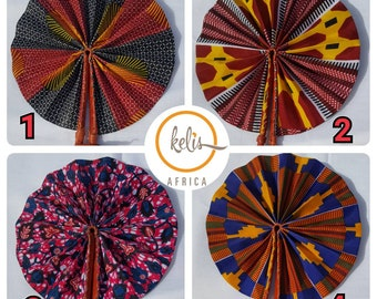 Sale !!African Print Fan/ African Print Folding Hand Fan/ Handmade Leather and African Print  Fan