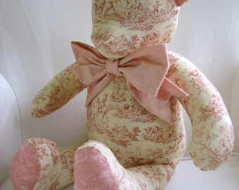 MADE to ORDER - Anna - Pink Toile Teddy Bear