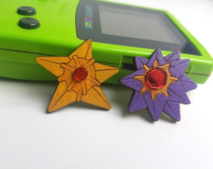 3D Layered Staryu and Starmie Pokemon Inspired Pin | Laser Cut Jewelry | Handmade Pin | Wood Pin